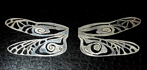 Stylised dragonfly wings in Sterling Silver. Each pair of wings measures 17x30mm