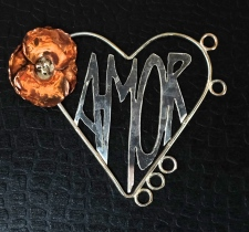 Heart Pendant with Copper and Fine Silver Poppy